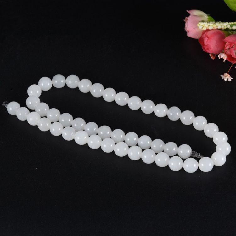 鸿羽 天然和田玉项链羊脂白玉大号圆珠超白白玉珠链可DIY毛衣链子