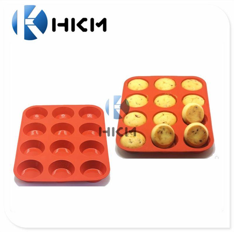 12孔食品级硅胶松饼烤盘 圆形蛋糕盘 硅胶饼干模 厨房烘焙用具