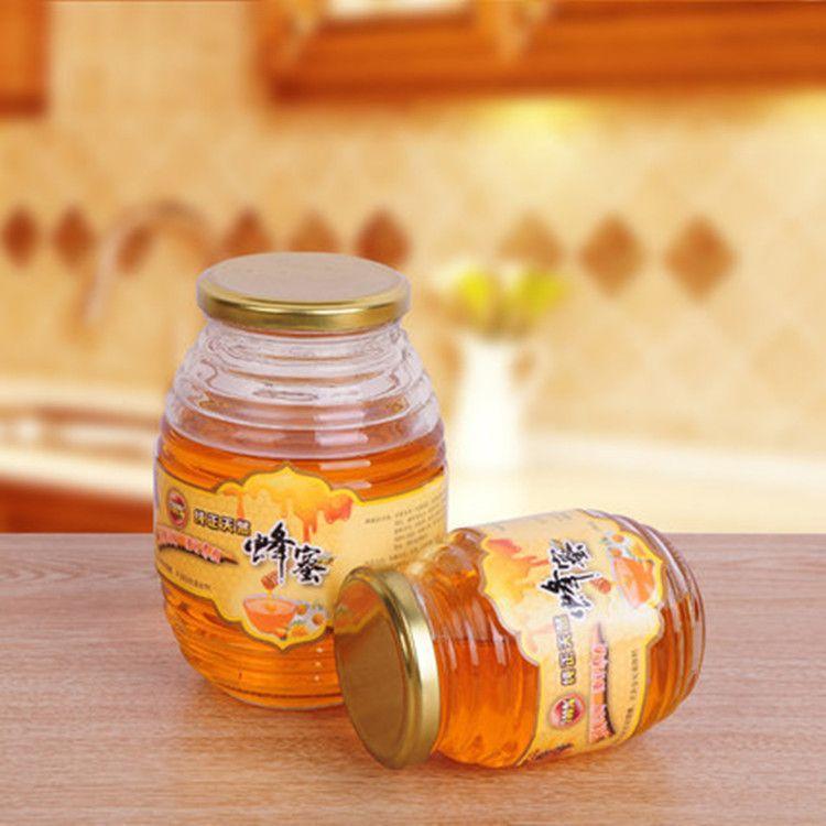 厂家批发玻璃蜂蜜瓶透明螺丝蜜糖瓶500g螺纹瓶子1000克蜂蜜瓶密封