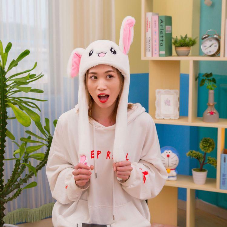 网红女神抖音气囊同款一捏耳朵会动的兔耳朵帽子可爱卡通厂家批发