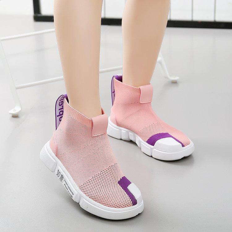 2018秋季新款童鞋中大童儿童飞织童靴运动鞋女童弹力袜子鞋透气潮