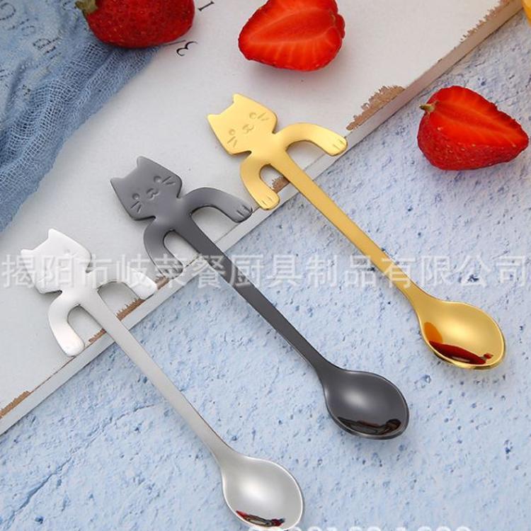 卡通猫勺304不锈钢勺子手柄悬挂式咖啡勺搅拌勺甜品汤勺-直销现货