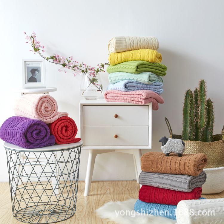 【南通厂家直销】全棉新款针织毯子线毯 空调房沙发盖毯 加厚麻花