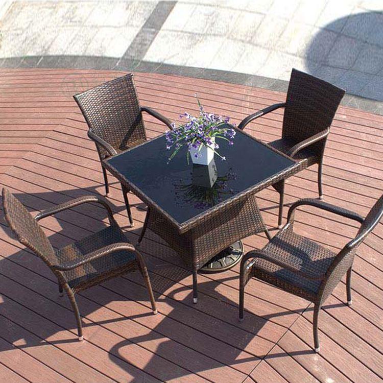 伟翔户外铸铝桌椅组合室外庭院家具铝合金休闲花园阳台编藤桌椅