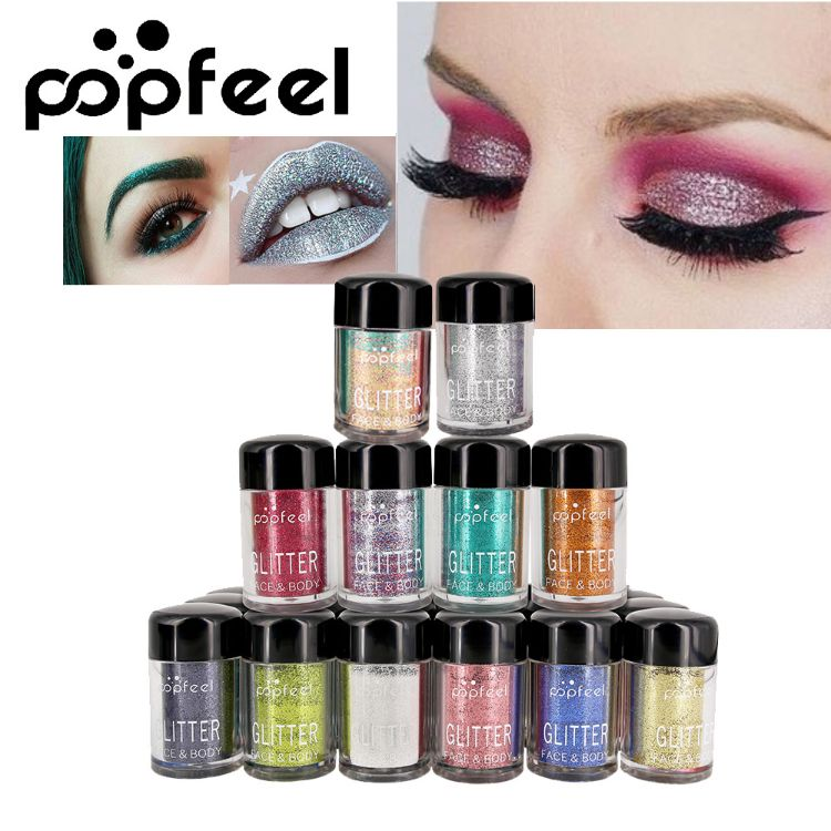 POPFEEL 12色钻石珠光眼影 粉金属色闪光金葱粉 组合套装跨境热销