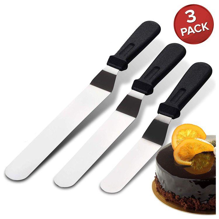 不锈钢吻刀蛋糕抹刀烘焙刀 烘焙工具抹刀三件套不锈钢抹刀多功能