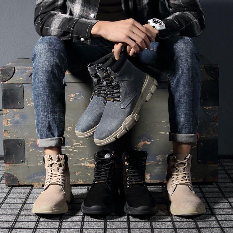 短靴男士高帮棉鞋中帮冬季靴子真皮潮雪地靴工装英伦马丁靴男大码