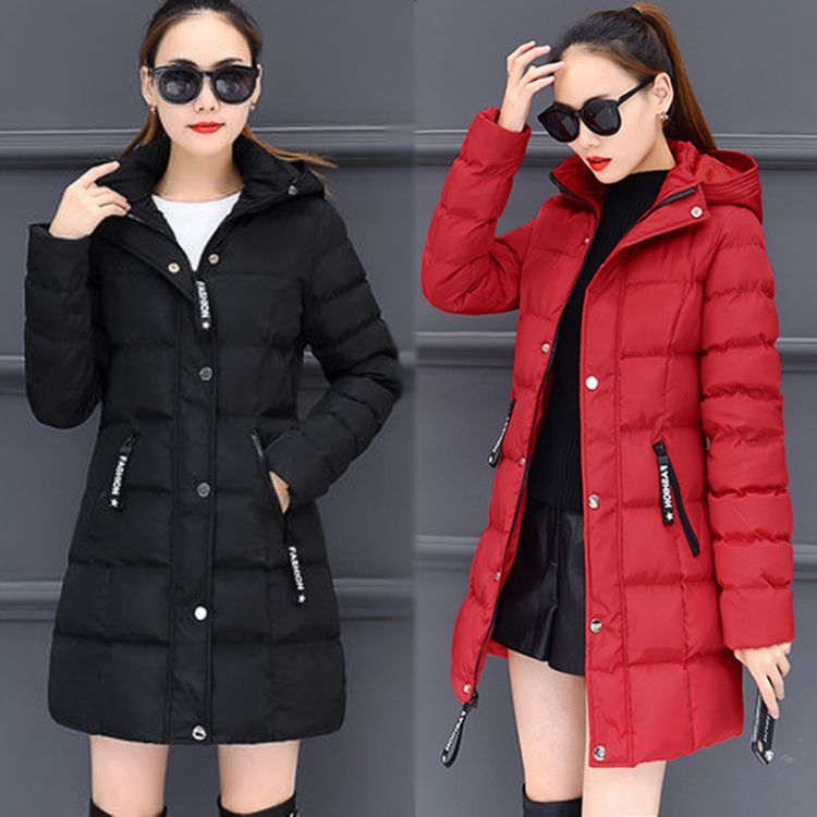 依丽奴冬季新款棉衣女 4色欧美中长款女外套货源稳定亚马孙棉服