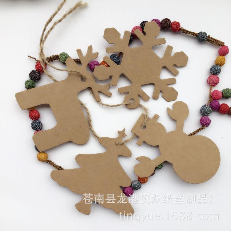 现货 圣诞节爆款麋鹿雪人 雪花片 圣诞树牛皮纸吊牌 4款100pcs标