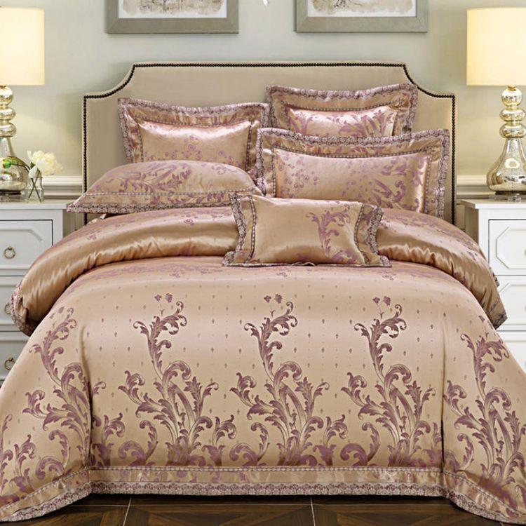 全棉贡缎提花四件套 结婚婚庆纯棉高档欧式床单被套床上用品批发
