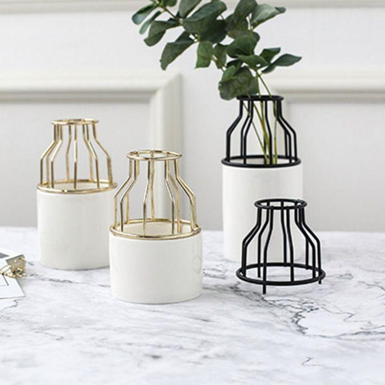 ins北欧风格创意陶瓷铁艺水培鲜花插艺术花瓶家居客厅装饰品摆设