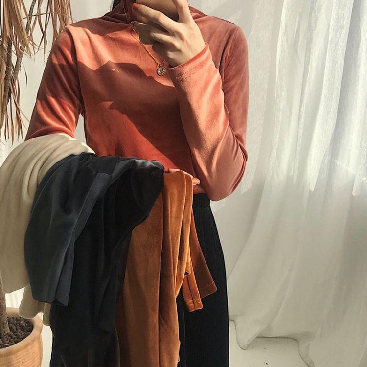 韩版秋冬新款复古半高领灯芯绒毛绒打底衫T恤女 女装批发一件代发