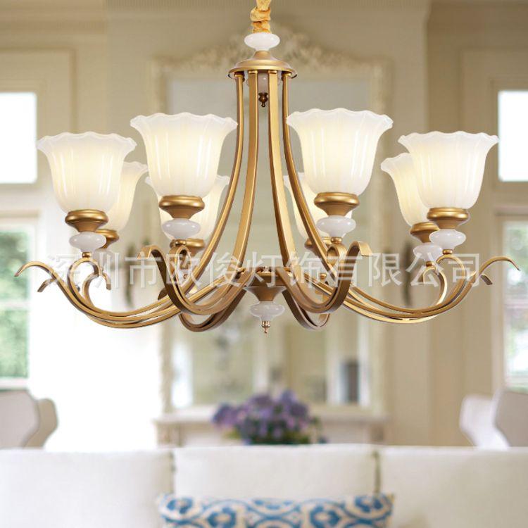 欧式吊灯客厅灯简约大气铁艺LED玻璃吊灯卧室餐厅书房灯具灯饰