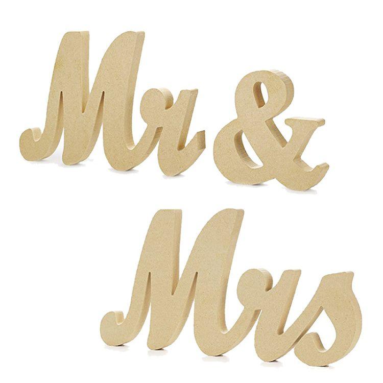 木质MR & MRS拍照道具英文字母摆件结婚礼品装饰木头工艺品170715