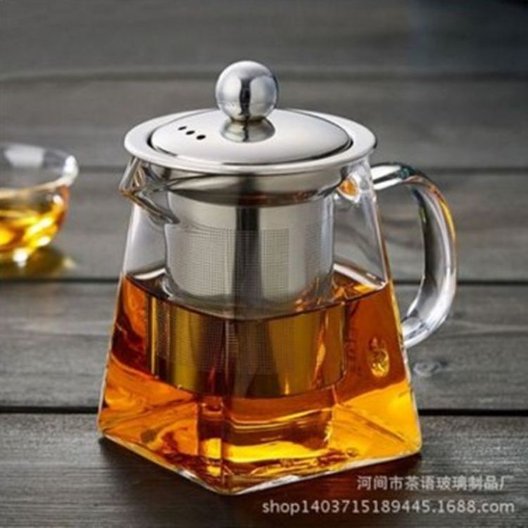 玻璃茶壶 高硼硅公道壶 不锈钢泡茶壶带滤网耐热玻璃壶四方公道杯