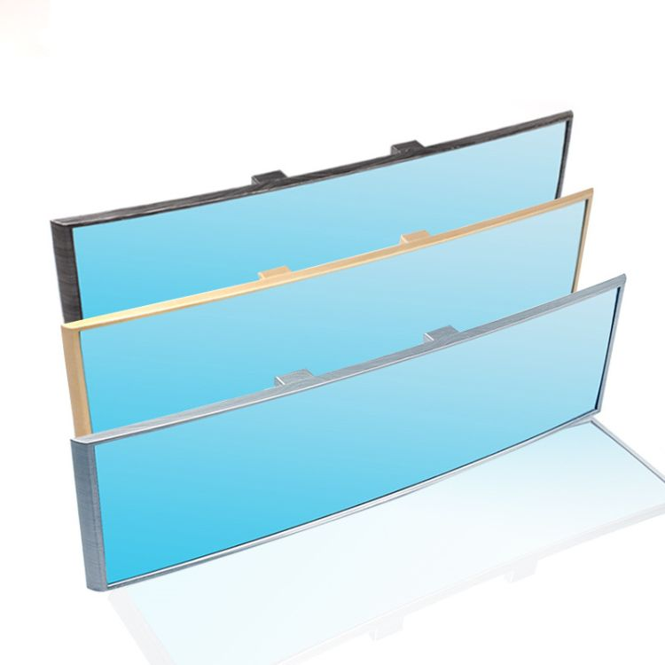 新款大视野防炫目镜蓝镜3色金属拉丝310*85mm车内后视镜