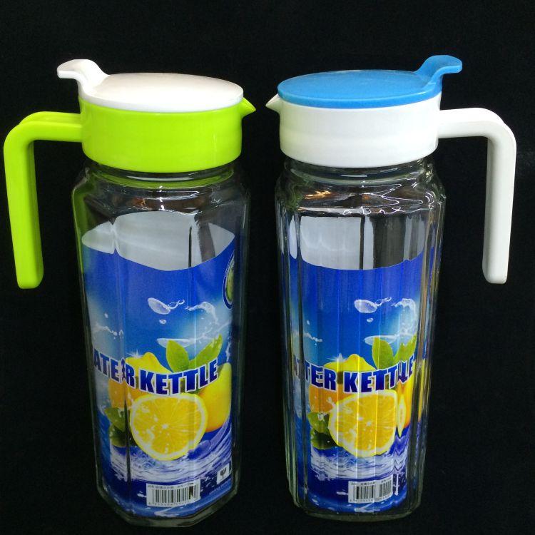 前力新品1.1条子壶八角壶玻璃冷水壶 饮料果汁牛奶玻璃水壶批发