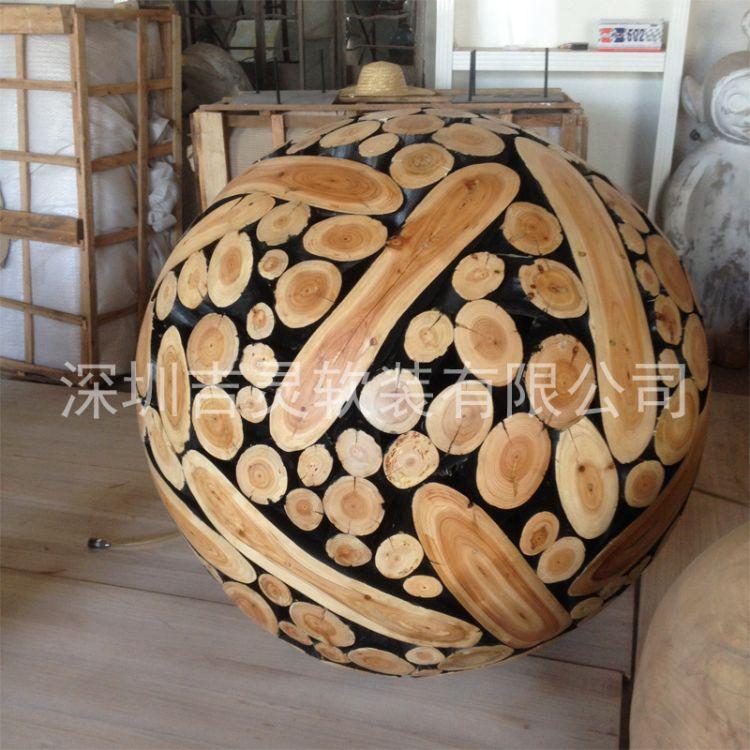 厂家直供实木圆球酒店艺术木制圆球装饰木质拼装木球木雕工艺品