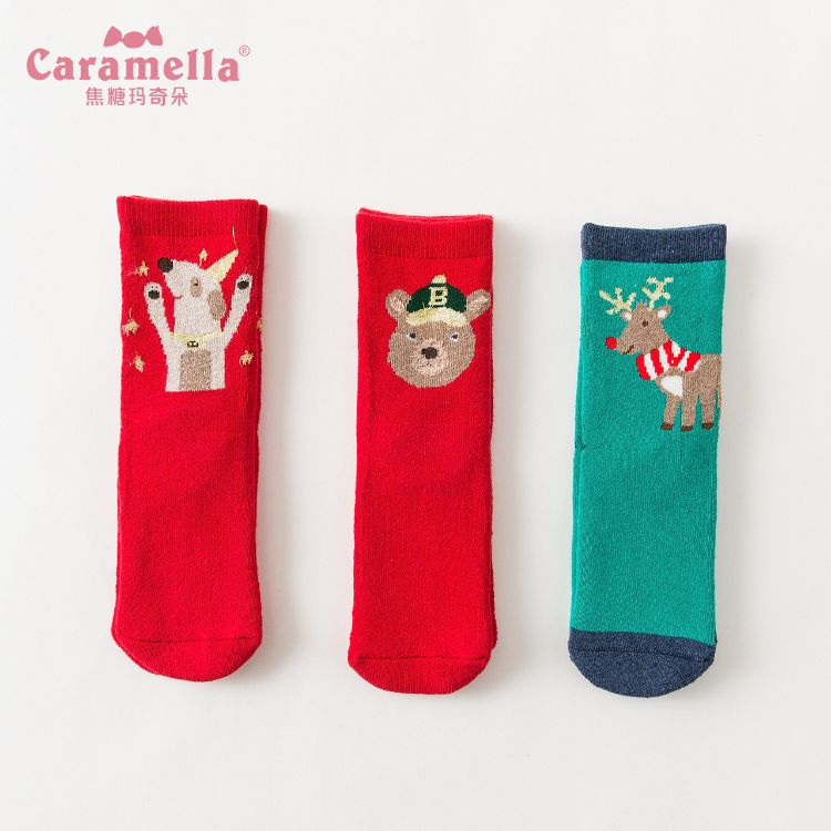 Caramella冬季纯棉儿童毛圈袜 新年红色圣诞袜组合3双礼盒 童袜