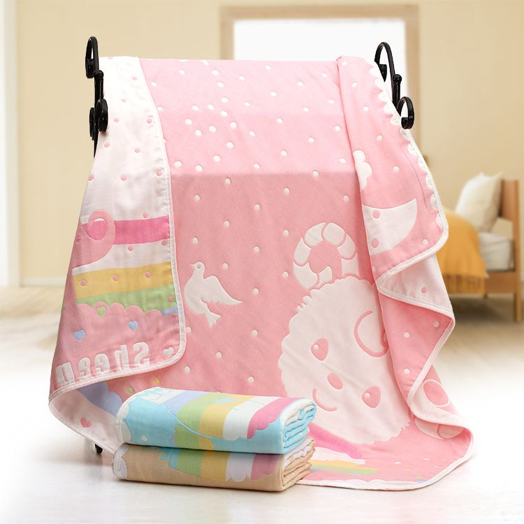 厂家直销婴儿浴巾五层纱布童被纯棉纱布毛巾被吸水新生儿童夏凉被