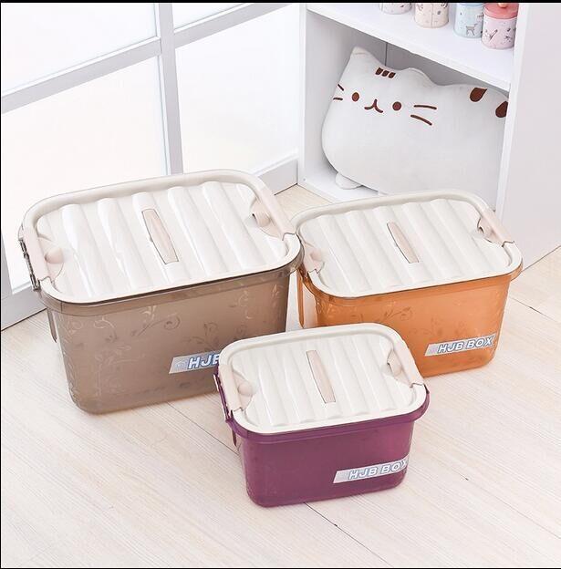 宸居 新款手提塑料收纳箱带盖子整理箱收纳盒 储物箱批发