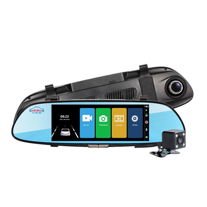 亚马逊专供7寸IPS前后双录触摸记录仪支持停车监控星光夜视后视镜