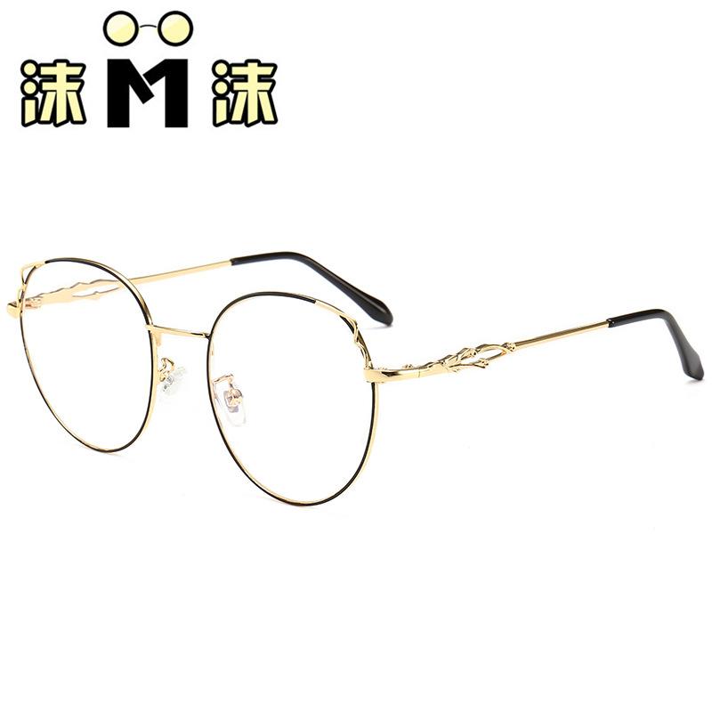 18新款复古平光镜 金属圆形框近视眼镜架 眼镜框简约潮流框架眼镜