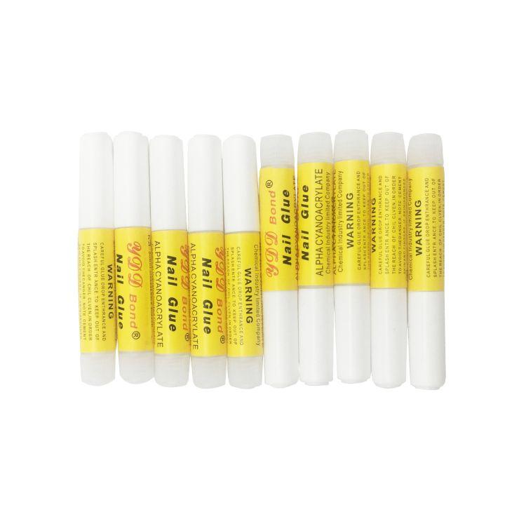 美甲专用快干粘胶水超级浓缩强力透明贴片定型胶水2克黄粉标胶水