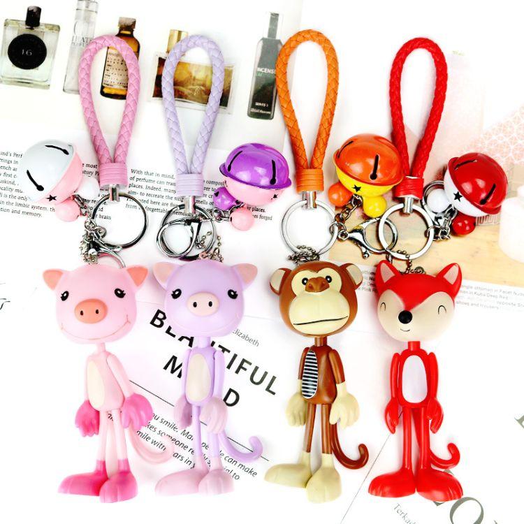 韩国卡通钥匙扣小熊可爱男士女款猴子情侣创意猪猪汽车钥匙链挂件