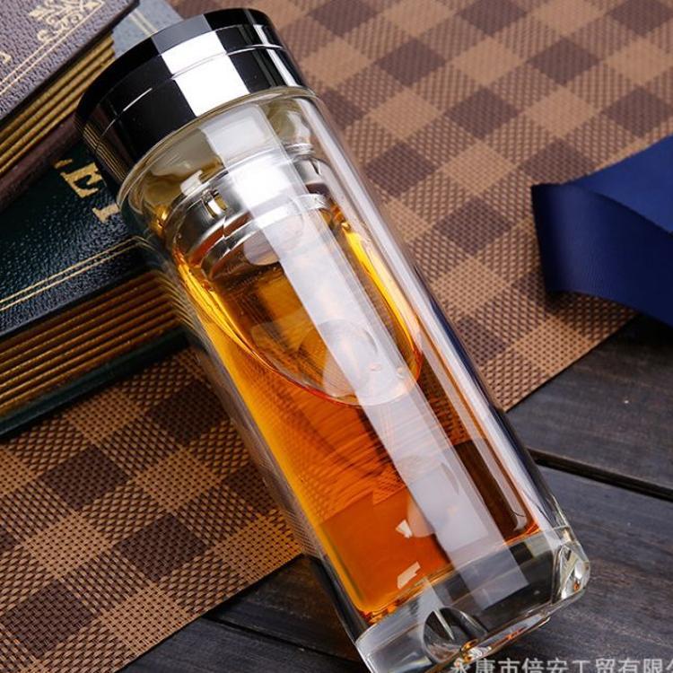 温度显示玻璃杯 高档水晶玻璃杯 耐高温双层玻璃杯 厂家直销