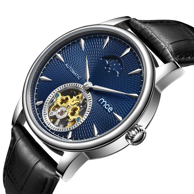 廠家批發定制微商貨源歐美創意真皮防水男士全自動陀飛輪機械手表