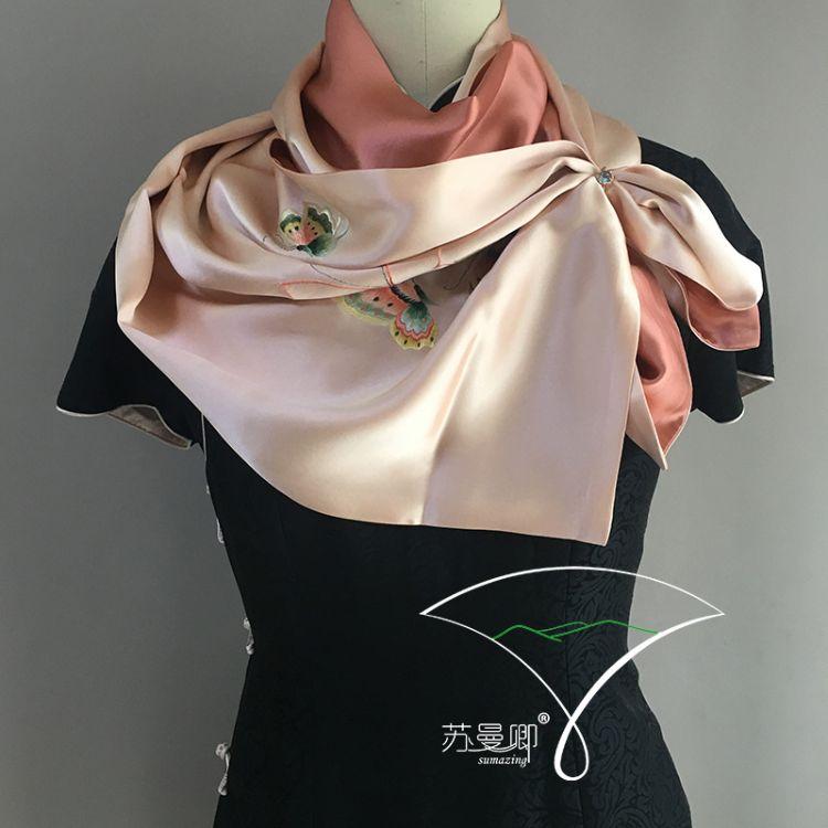 蘇曼卿 手工刺繡 真絲圍巾 優美端莊 精美暖心禮品 兩邊繡花款
