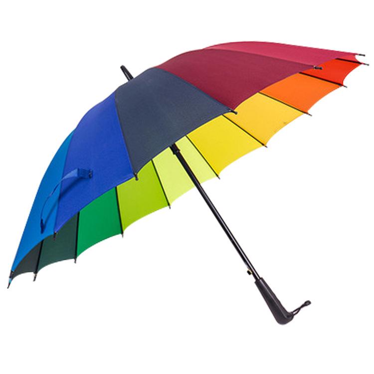 供应皇冠正品 彩虹雨伞个性16个颜色虹伞广告伞 高尔夫雨伞定制