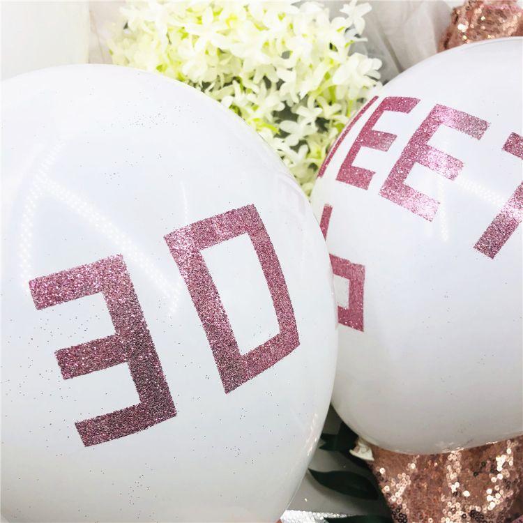 12寸diy金葱粉气球玫瑰金气球DIY装饰金粉婚礼生日派对气球装饰