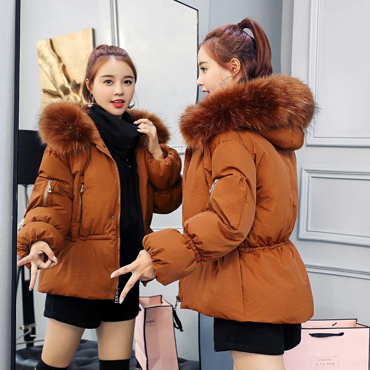 2018冬季新款韩版大毛领连帽棉衣女式羽绒棉服短款潮棉袄外套批发