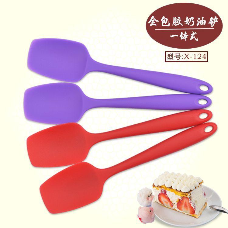 工厂热销现货 DIY烘焙系列 硅胶小厨具 硅胶刮刀 一体式小圆铲