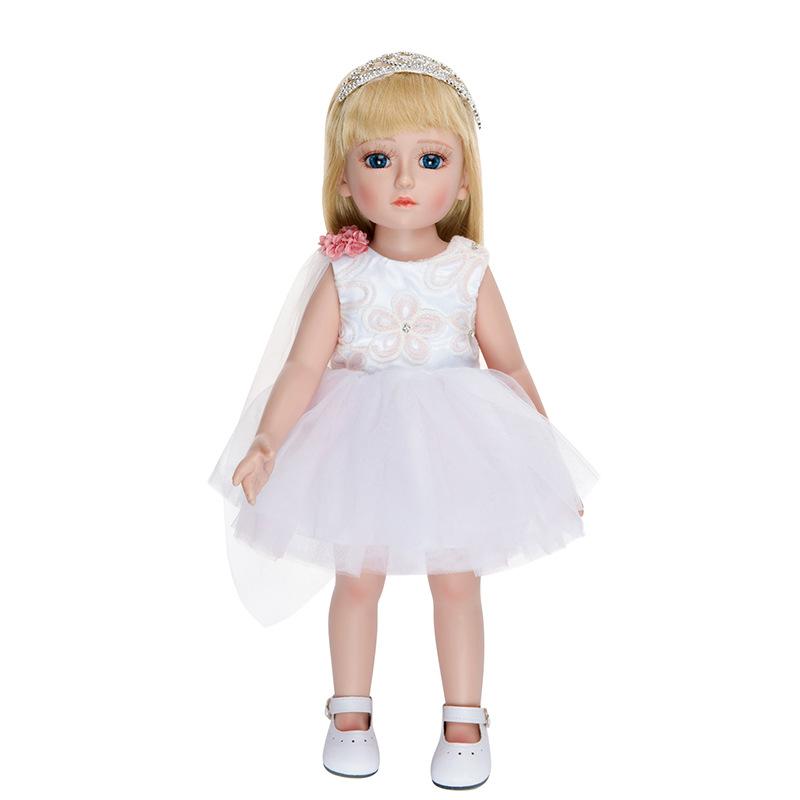 创意18寸美国女孩娃娃+衣服 时尚洋娃娃白色裙子娃娃配饰外贸批发