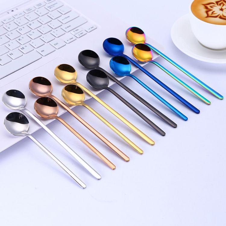 厂家直销 304不锈钢咖啡勺 小圆勺搅拌勺长柄勺 炫彩调羹汤勺汤匙