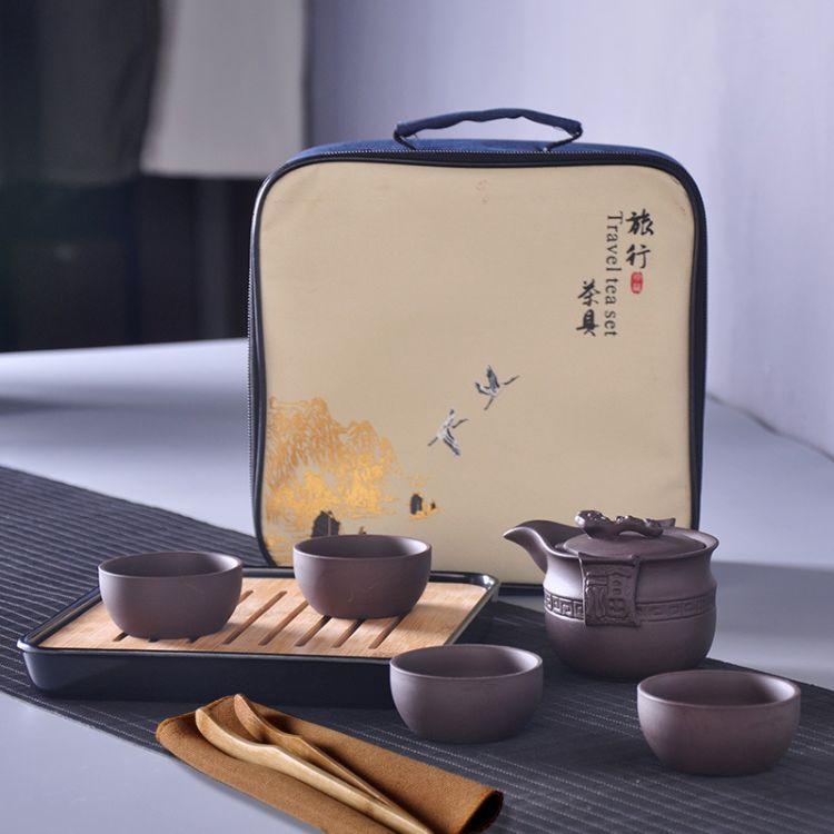 厂家批发 紫砂茶具套装 旅行茶具特价功夫茶具 可加logo 茶盘茶具