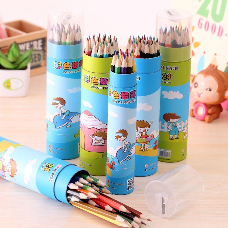 韩国文具 卡通创意长款12色24色画笔 儿童绘画环保无毒彩色铅笔