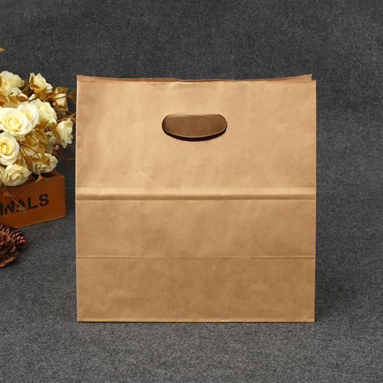 加厚版 牛皮纸糕点纸袋 空白无印刷可加印logo冲孔纸袋 打包袋