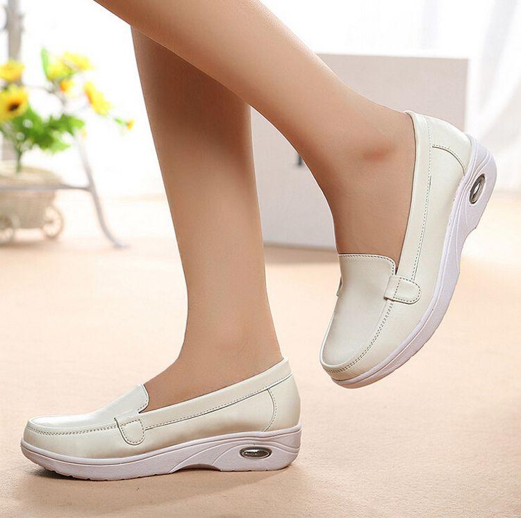 厂家批发真皮女护士鞋舒适透气防滑气垫鞋美容师妈妈鞋孕妇单鞋