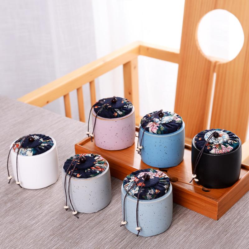 黑陶新品复古粗陶茶叶罐陶瓷茶罐药罐小号密封满天星礼品定做LOGO