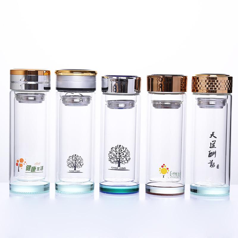 厂家直销玻璃杯定制logo广告杯定制典雅商务礼品杯批发双层玻璃杯
