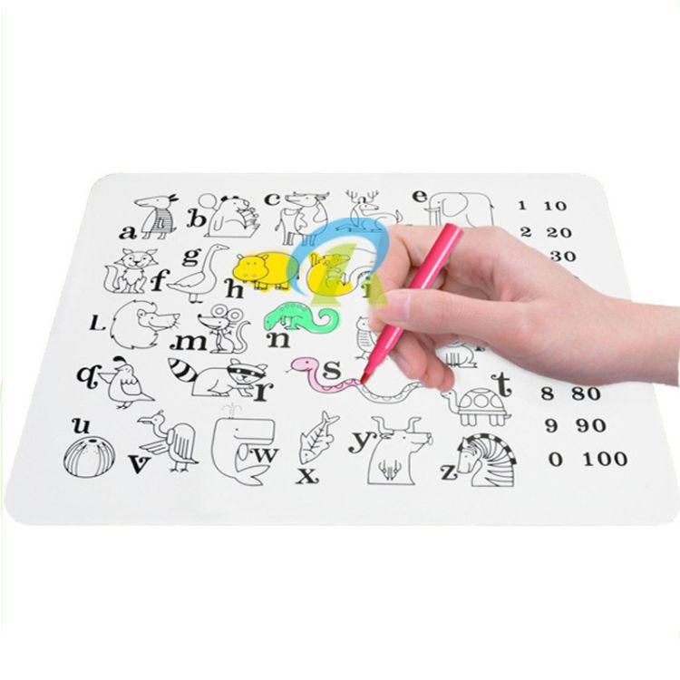 欧美热销硅胶儿童餐垫 可擦洗硅胶儿童绘画垫 卡通硅胶圣诞礼品