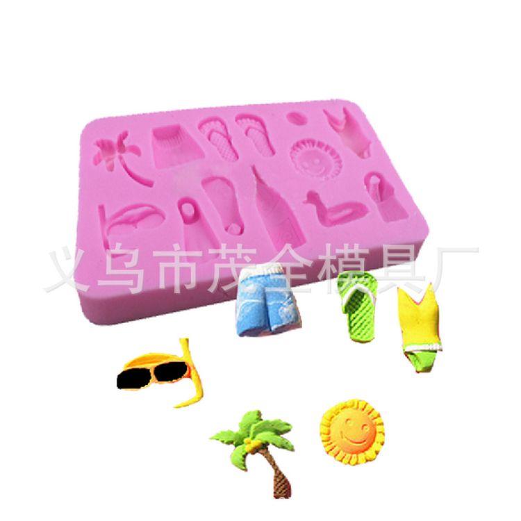 DIY翻糖硅胶模具沙滩泳衣凉拖工具装饰物硅胶模具巧克力蛋糕模具