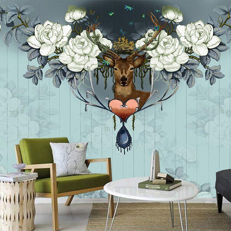 牡丹麋鹿复古客厅沙发艺术墙纸手绘个性餐厅背景壁纸定制大型壁画