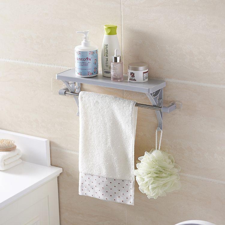 多功能浴室置物架 无痕免钉粘贴式浴室整理架收纳架毛巾挂架批发