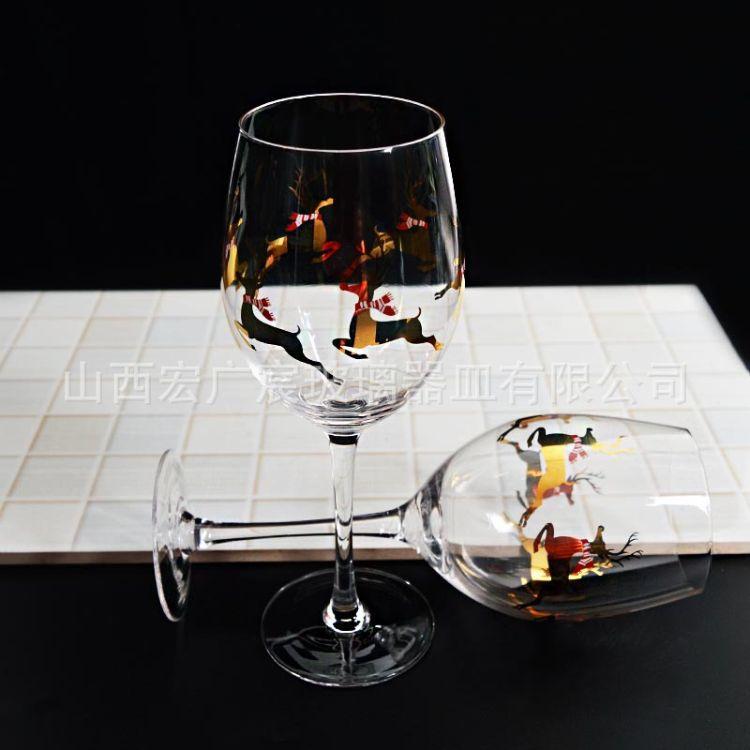 高档黄金花纸玻璃杯真金工艺红酒高脚杯透明玻璃水晶杯葡萄酒杯