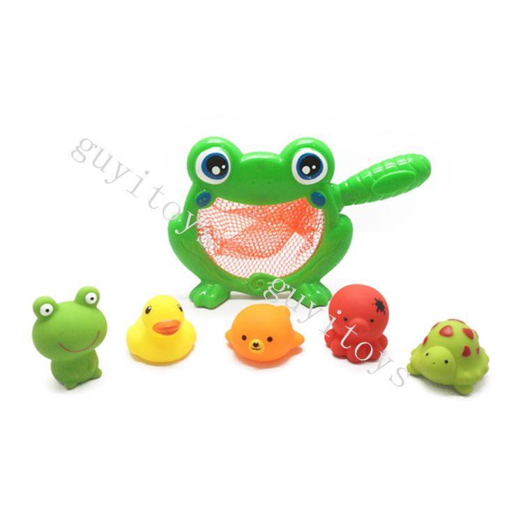 环保卡通动物洗澡玩具套装 搪胶喷水戏水玩具 宝宝洗澡玩具捞鱼乐